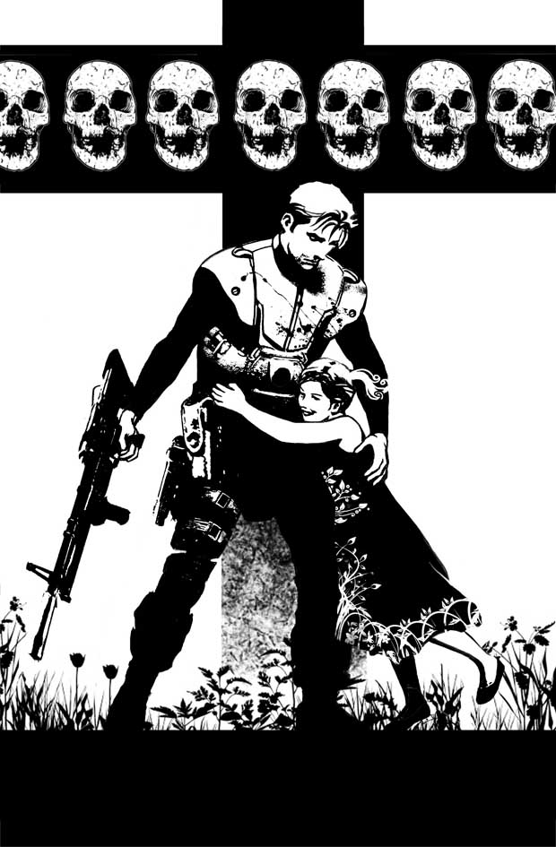 NATHAN NEVER, b/w sketch